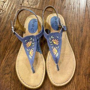 BOC sandals, denim fabric, floral embr trim, 8